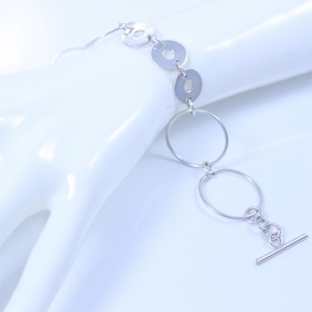Sterling silver bracelet with large and small hoops
