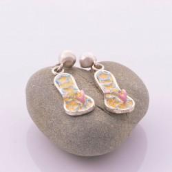 Sterling silver earrings hand painted flip flop design