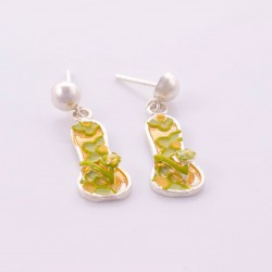 Sterling silver earrings hand painted flip flop design. Yellow&green