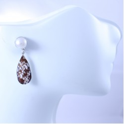 Sterling silver earrings with pearl and seashell