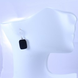 Sterling silver earrings with onyx rectangle
