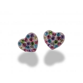 Sterling silver earrings heart design & zirconia rainbow
