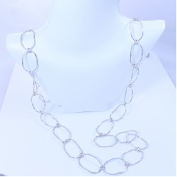 Sterling silver necklace with long hammered ovals