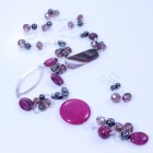 Sterling silver long necklace with hematite, pink agate and crystal