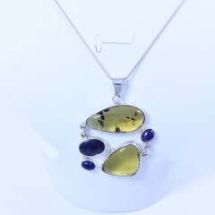 Sterling silver pendant with amber and lapis lazuli