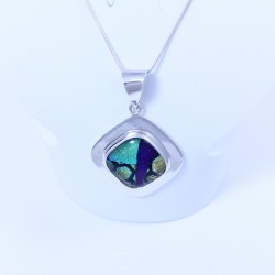 Sterling silver pendant with purple, green, blue, yellow dichroic glass