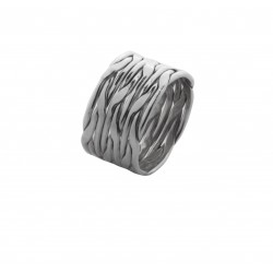 Sterling silver ring with wide band of braided silver strands