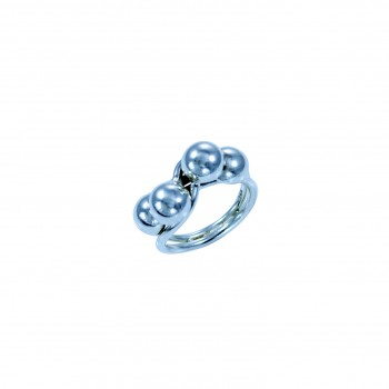 Sterling silver ring with twin silver wire bands & four silver domes
