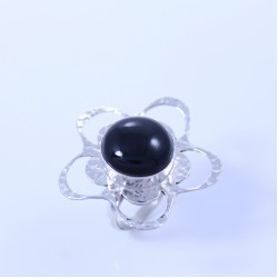 Sterling silver ring with onyx dome hammered flower