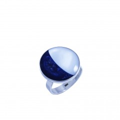 Sterling silver ring with moonstone and lapis lazuli