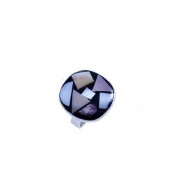 Sterling silver ring with abstract onyx and coloured shells