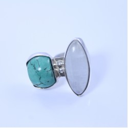 Sterling silver ring with turquoise and moonstone
